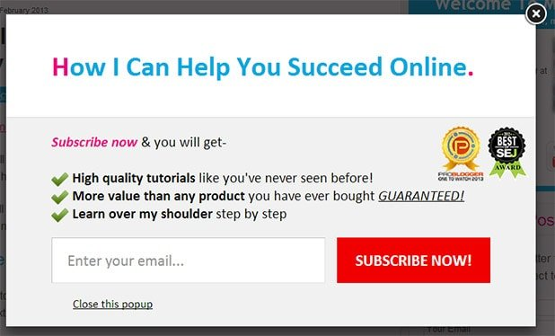my email optin popup