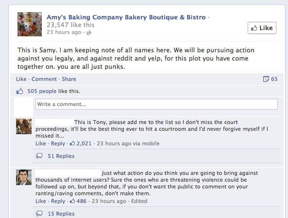 amy's baking company facebook legal threat