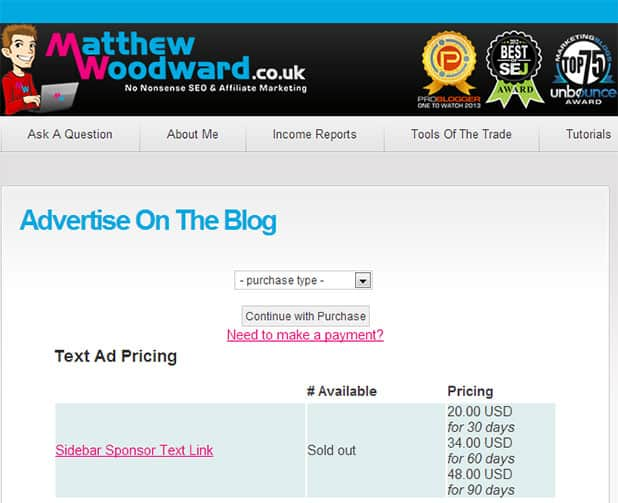 advertise on the blog