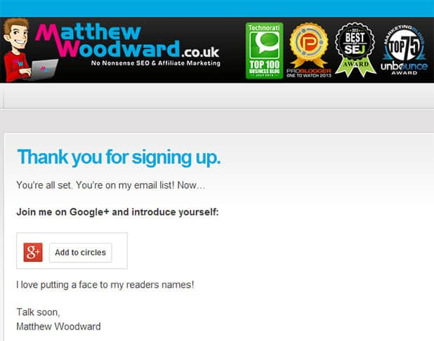 thanks for signing up