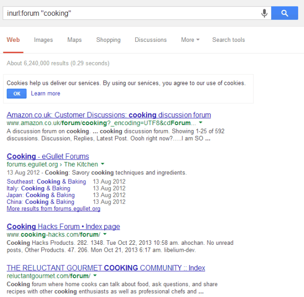 cooking forum google footprint