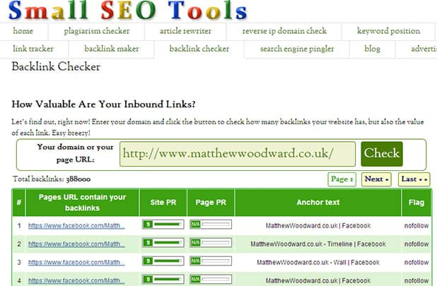 check competitor backlinks with SmallSEOTools