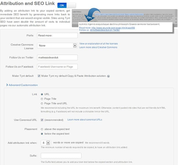 how to get free backlinks with Tynt attribution