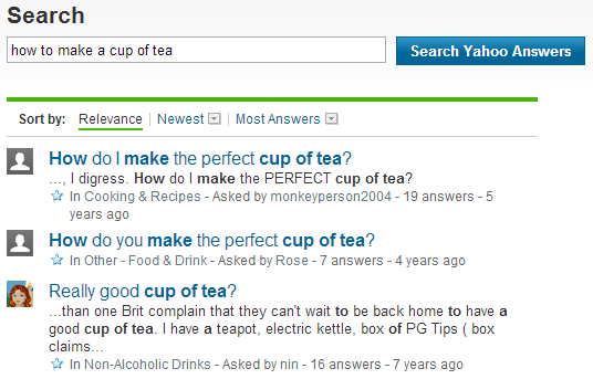yahoo answers search