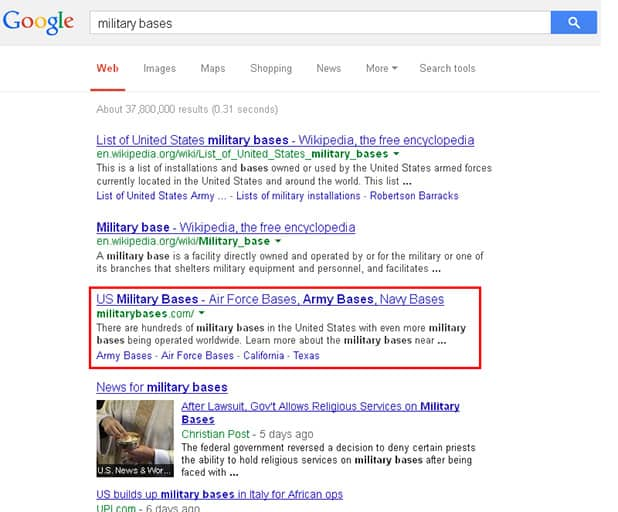 Military Bases Search Results