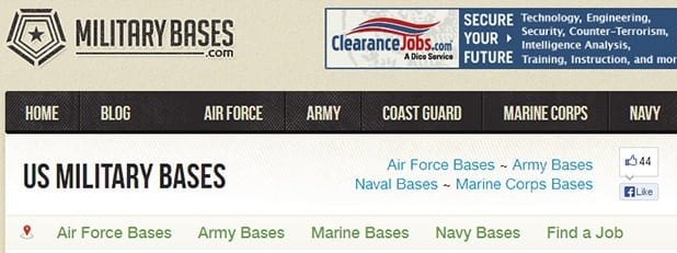 Profitable Niches Example #1 US Military Bases