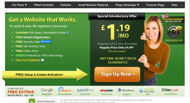 Landing page design example 9