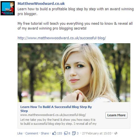 Blonde Facebook Advert