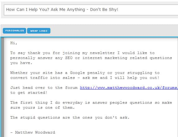 ask me anything email autoresponder example
