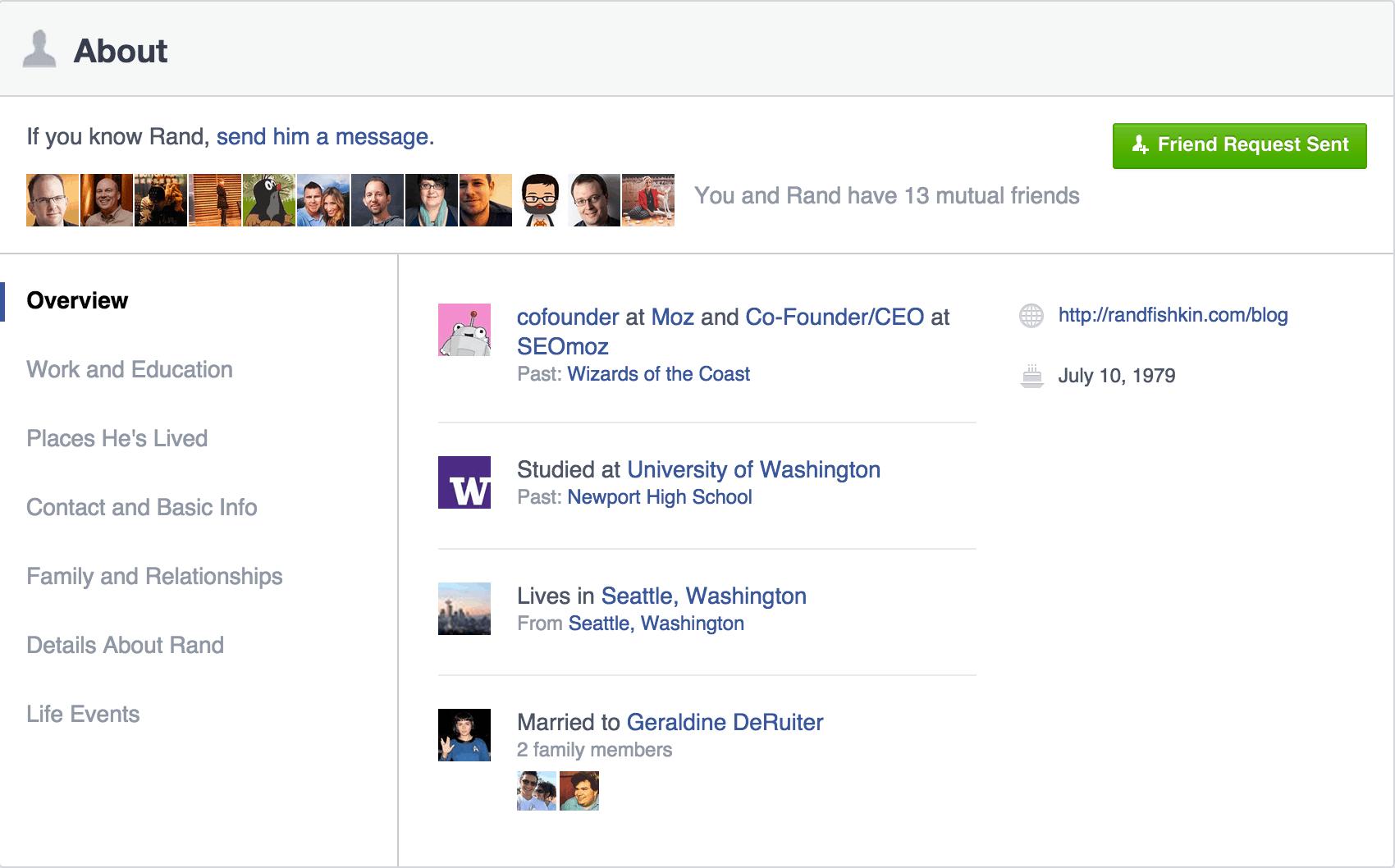 Facebook social media links