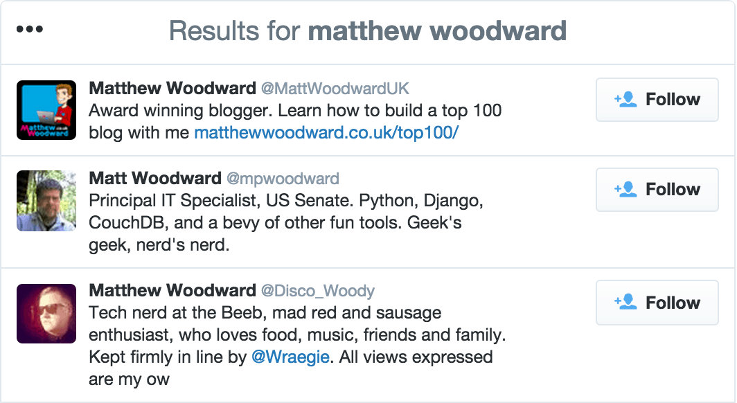 Twitter bio search results