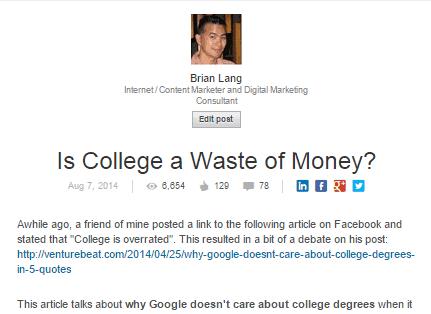 LinkedIn College Waste Money