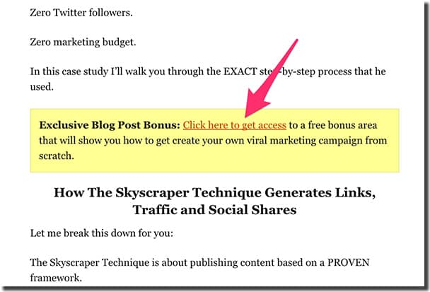 Brian Dean is using a content upgrade with a 2-step opt-in in one of his articles