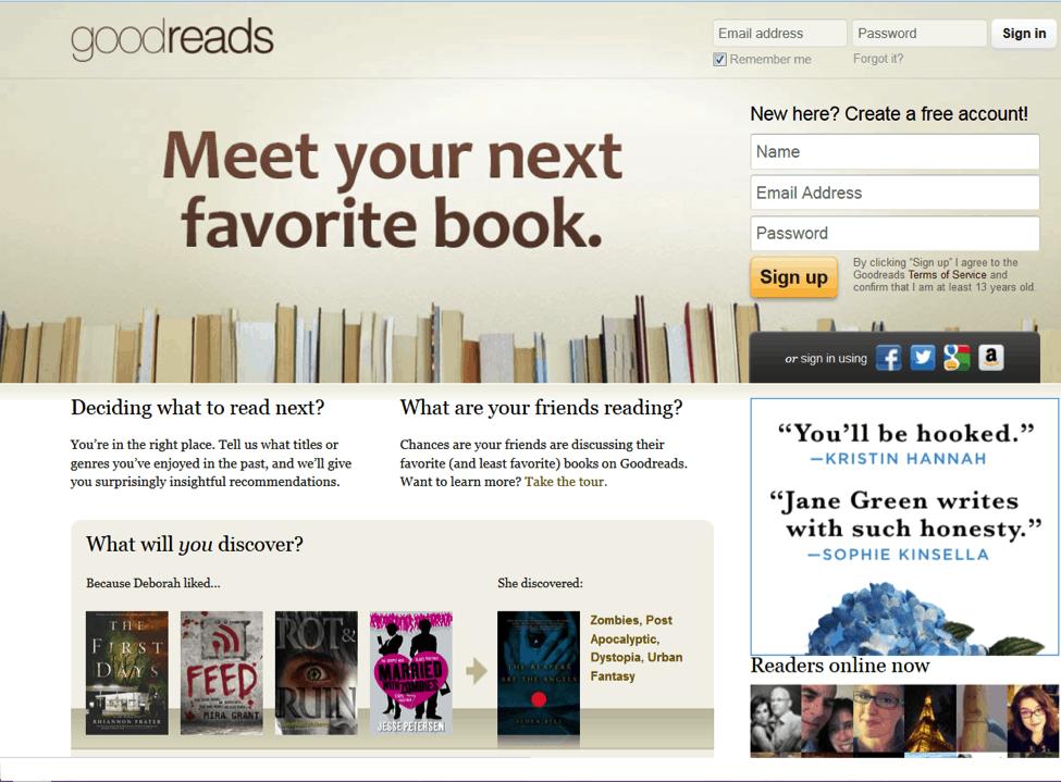 Goodreads homepage