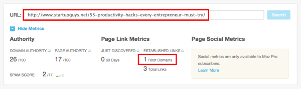 checking the backlinks