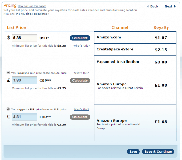CreateSpace Pricing with Expanded Distribution