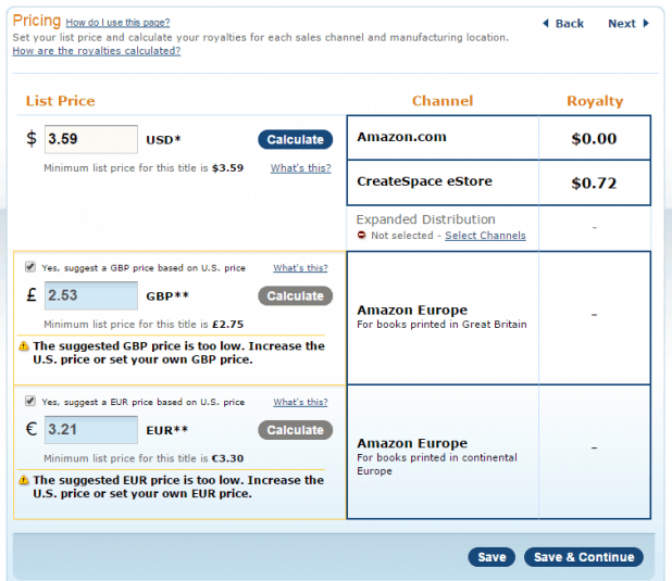 CreateSpace Pricing with no Expanded Distribution