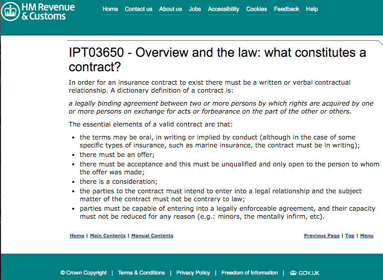 contract terms and conditions from HMRC