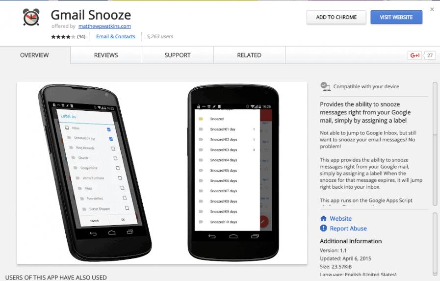 google snooze page