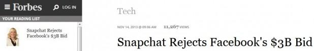 snapchat rejects 3 billion dollars