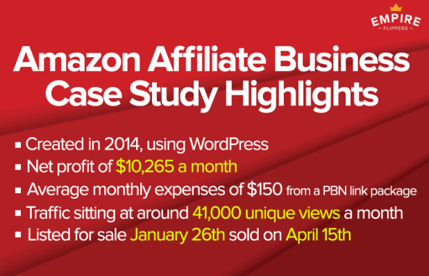 Amazon affiliate website business highlights
