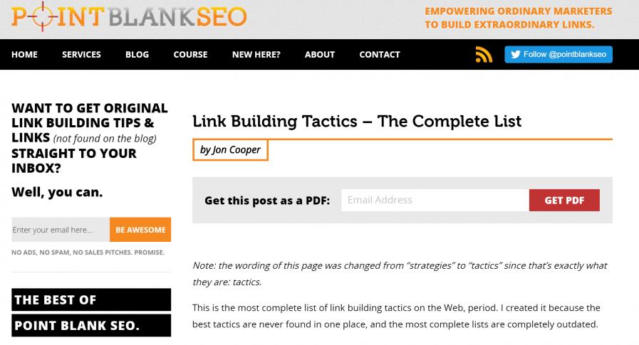 point blank seo tactics link building