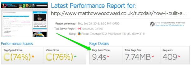 new site speed results