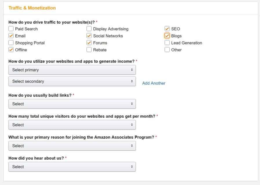 amazon affiliate process