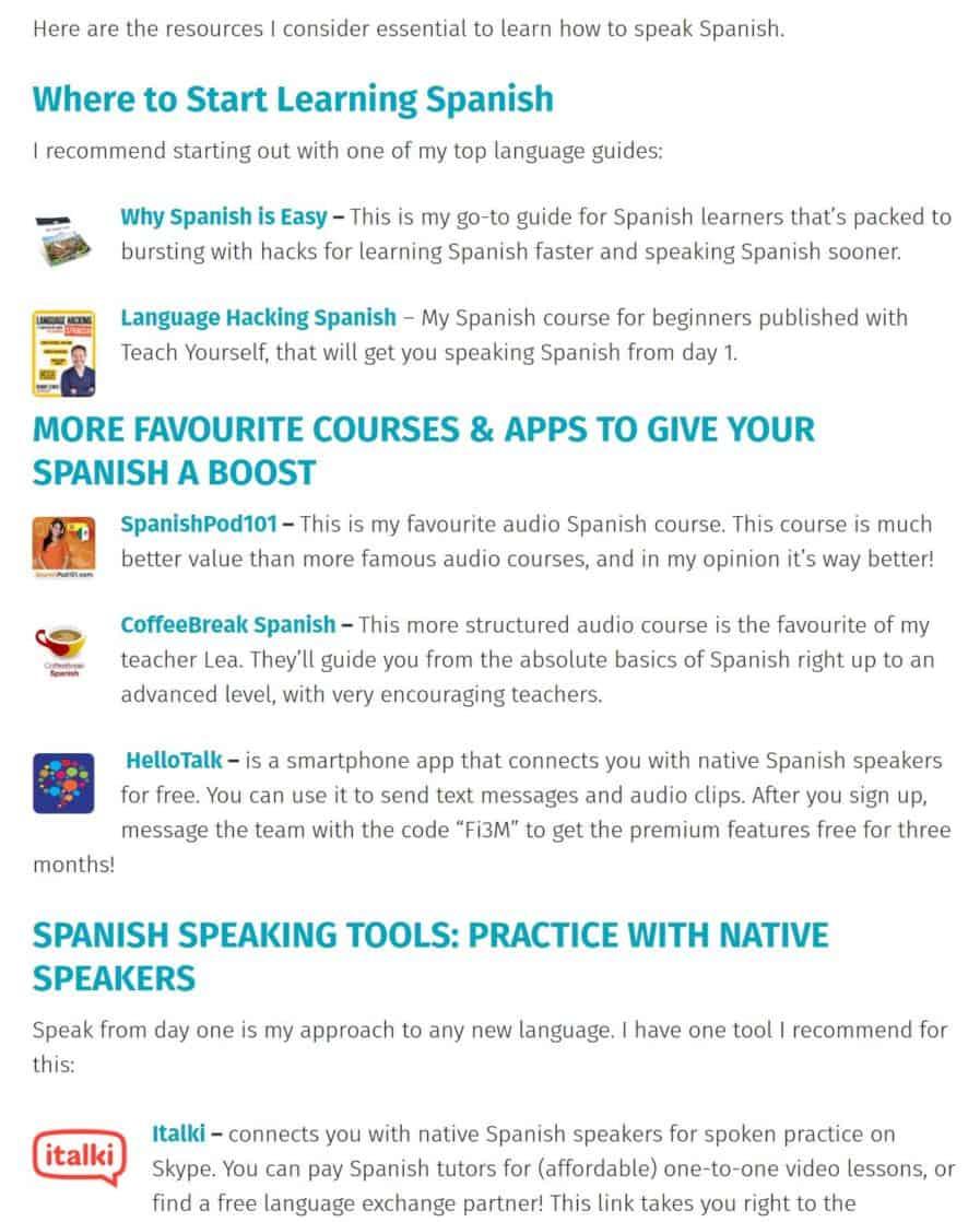 learn spanish affiliates