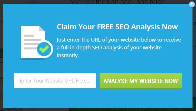 custom seo analysis popup