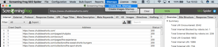 screaming frog xml sitemaps