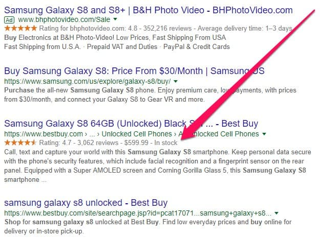 Rich snippets in search results example