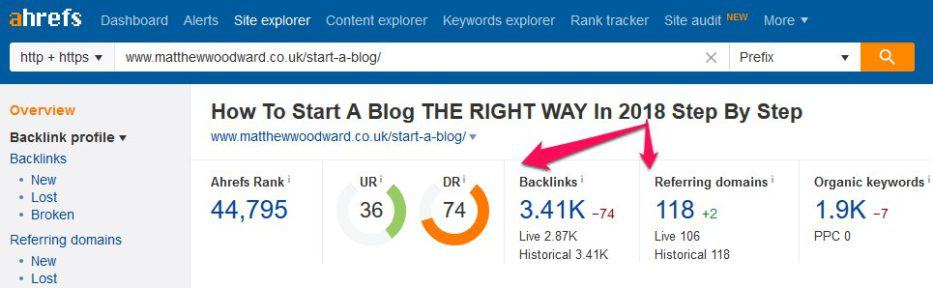 check the number of backlinks