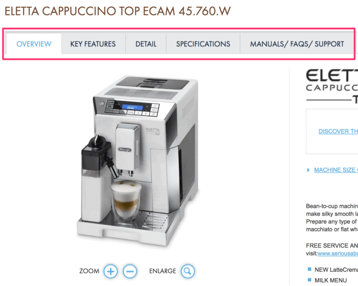 Delonghi product page example