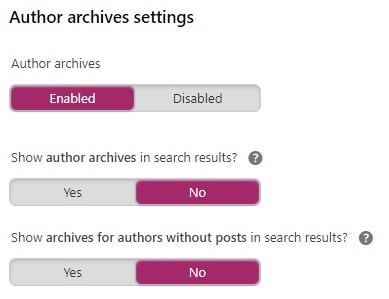 yoast author archive settings