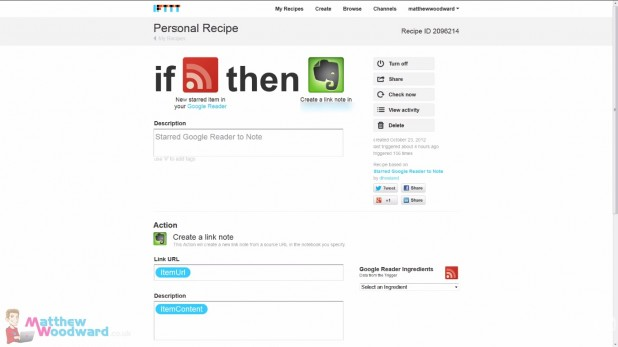 what i have read this month connects IFTTT with Evernote