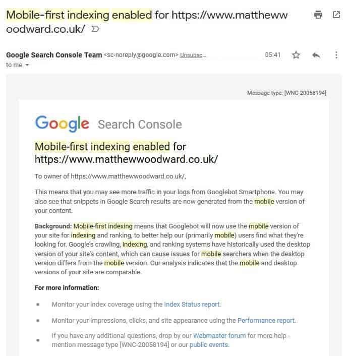 Mobile-First indexing enabled