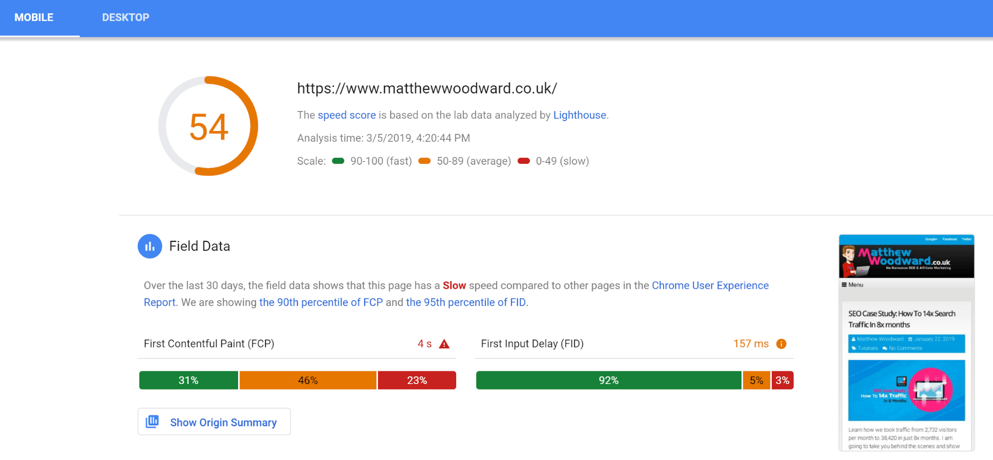 Google Page Speed Insights test results for mobile