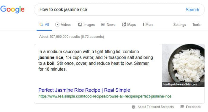 jasmine rich search example