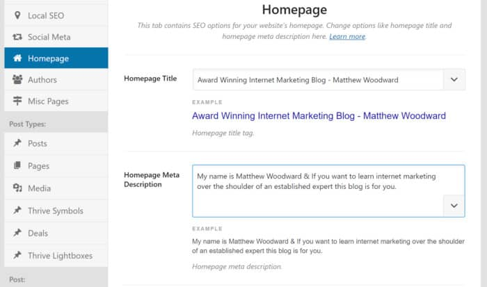Homepage Information