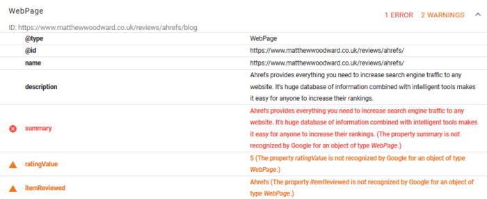 Rich Snippets Errors