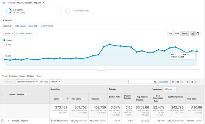 ecommerce case study #2 - Google Traffic
