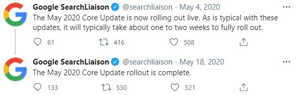 google update May 4th 2020