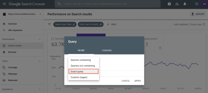exact query filtering google search console